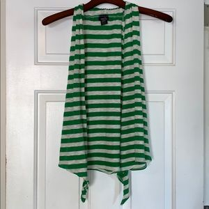 Green/White Striped Sleeveless Cardigan